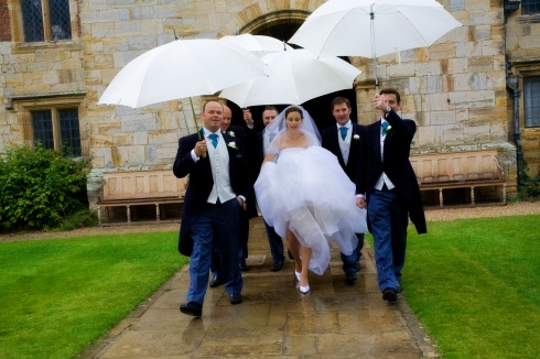 Bride and Groom - a wet wedding march