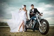 Bride and biker